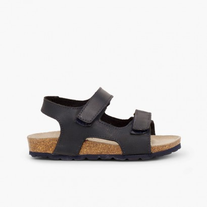 Eco leather sandals twin loop fasteners Navy Blue