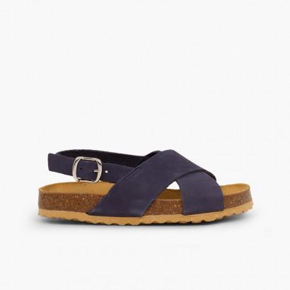 Cross strap sandals in nubuck for kids Navy Blue