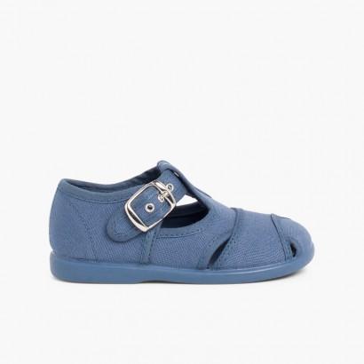 Boys Canvas T-bar Sandals Blue denim