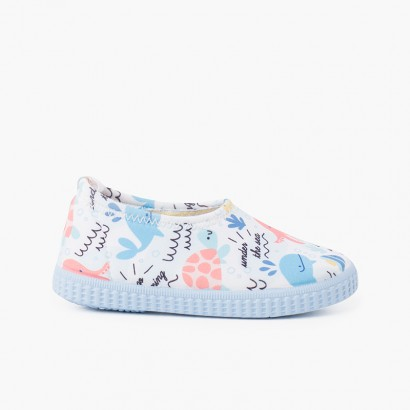 Neoprene type Closed Trainers with Drawings White