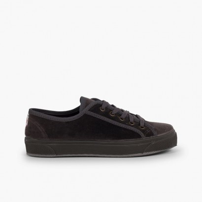 Platform velvet sneakers woman and girl  Grey