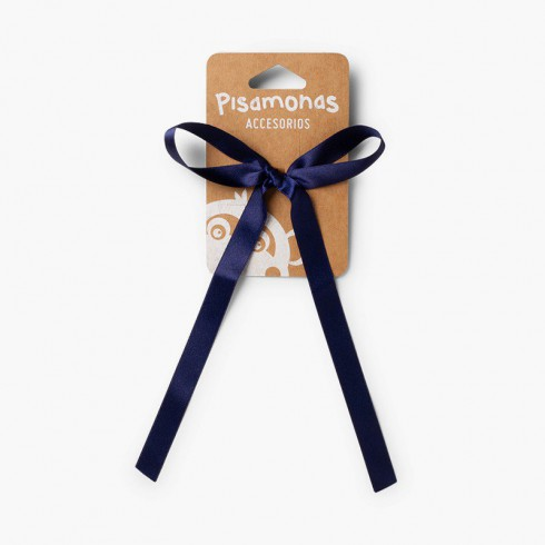 Hair tie with satin bow  Navy Blue