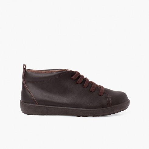 Leather Shoes type Ankle Boots Lace-up Brown
