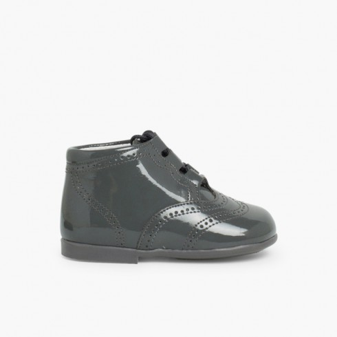 Patent Type Lace-Up Oxford Booties Grey