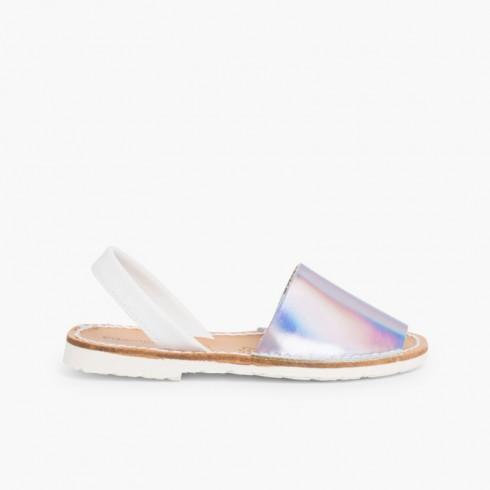 Kids Mirror Nappa Avarca Menorcan Sandals - Special Edition White Sole Silver