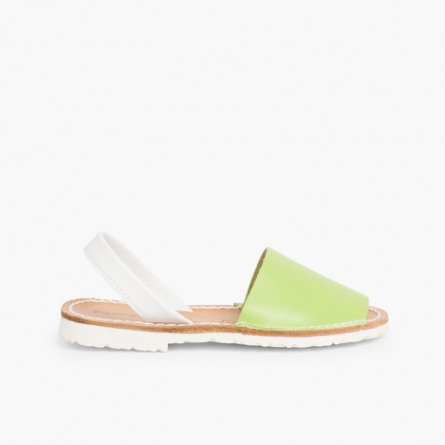 Kids Two-Tone Nappa Menorcan Sandals - Special Edition White Sole Pistachio Green