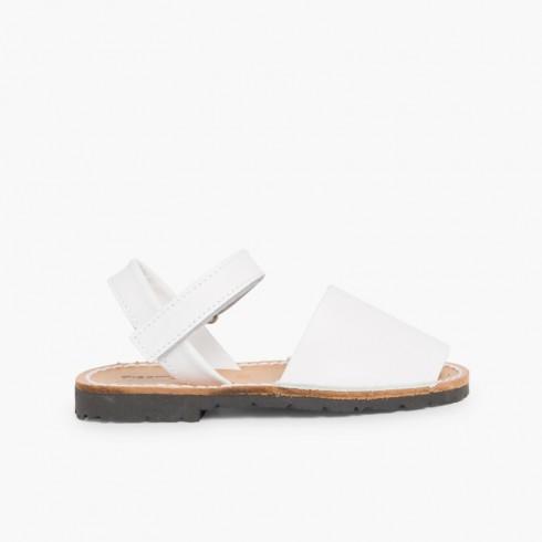 Kids Nappa Avarcas Menorcan Riptape Sandals White
