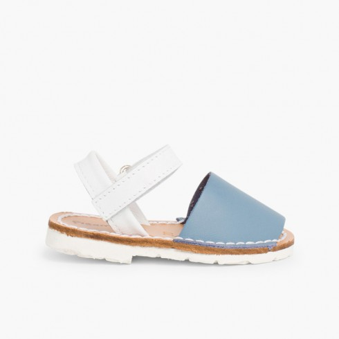 Kids Two-Tone Avarca Menorcan Sandals with loop fasteners - Special Edition White Sole Airforce blue