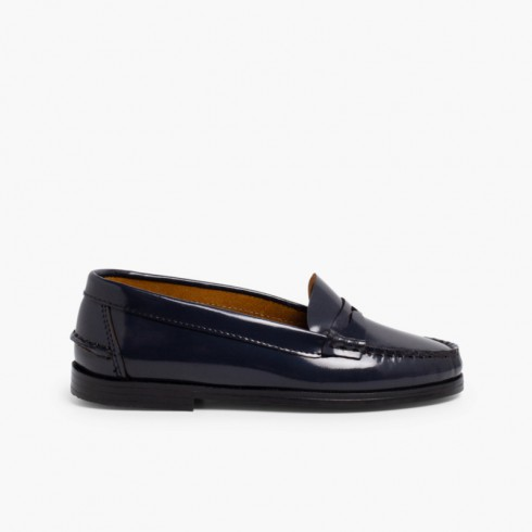 Girls' Leather School Loafers Navy Blue
