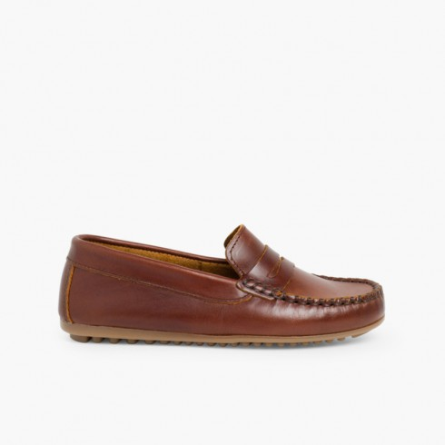 Boys Leather Mask Slip-on Loafers Brown