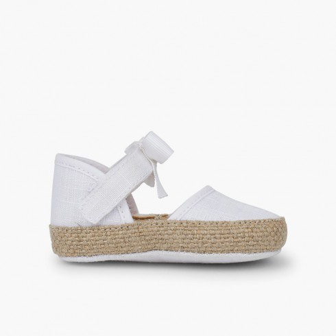 Baby Espadrilles with Bow and Butterfly Embellishment White