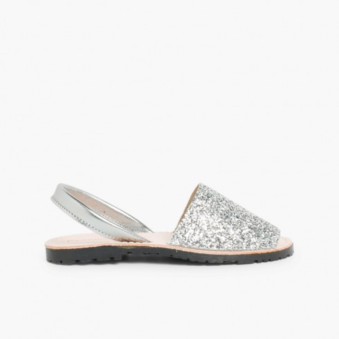 Glitter Menorcan Sandals for Girls and Women Silver