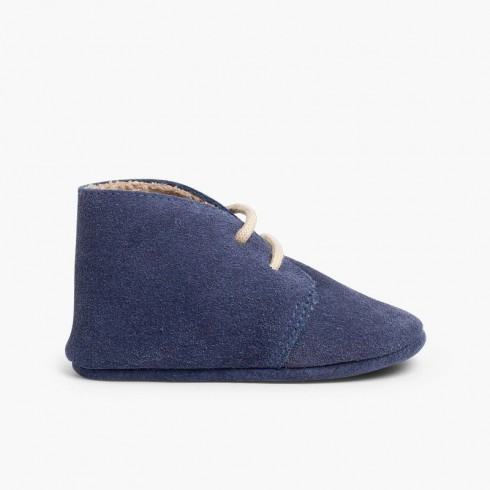 Booties desert boots furry inner liner  Navy Blue