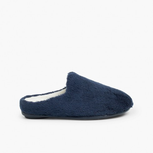 Soft furry house slippers  Navy Blue