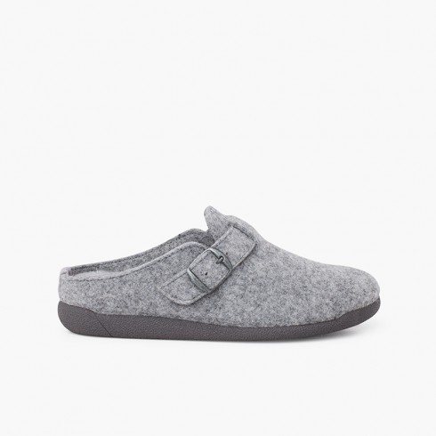 Clogs house buckle padded plant Grey