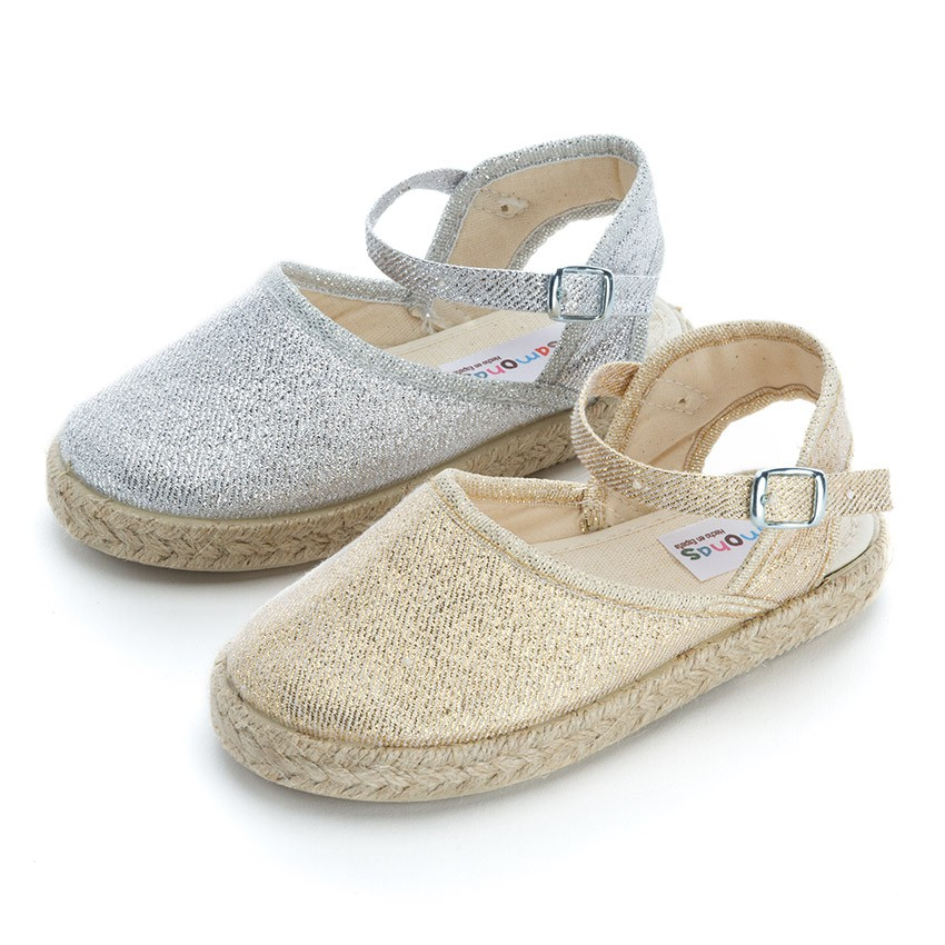 Girls Glitter Buckle Up Espadrille Wedge