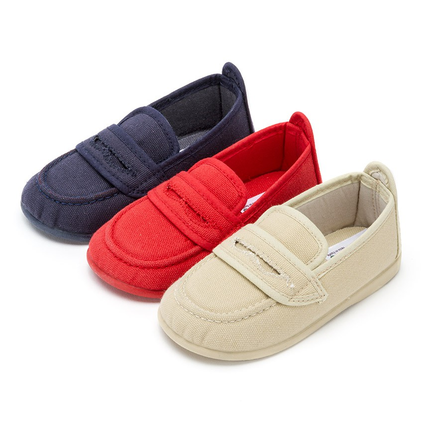 Boys Plain Canvas Loafers
