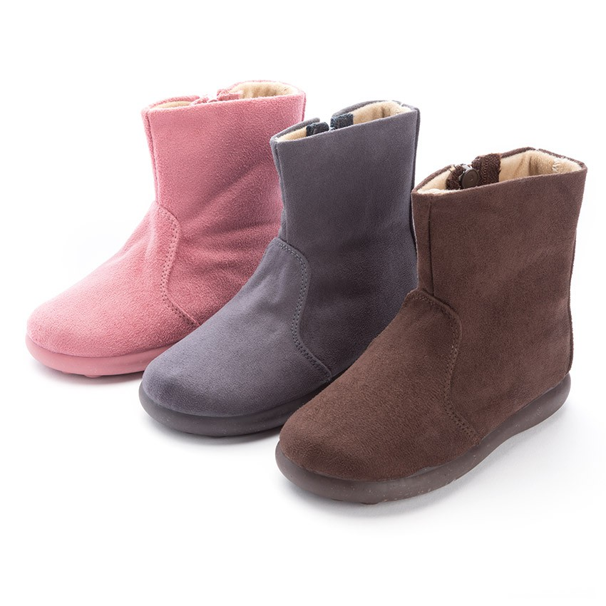 Girls Faux Suede Zip Boots