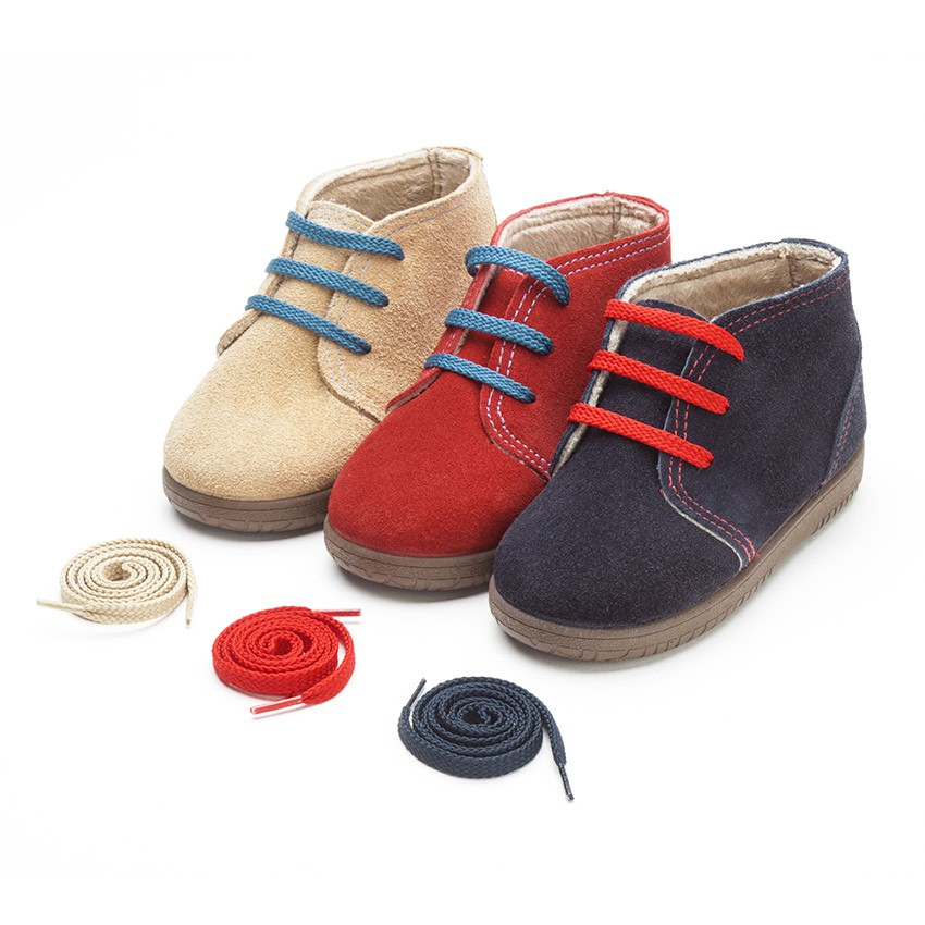 Kids Suede Boots with Coloured Laces and Stitchings