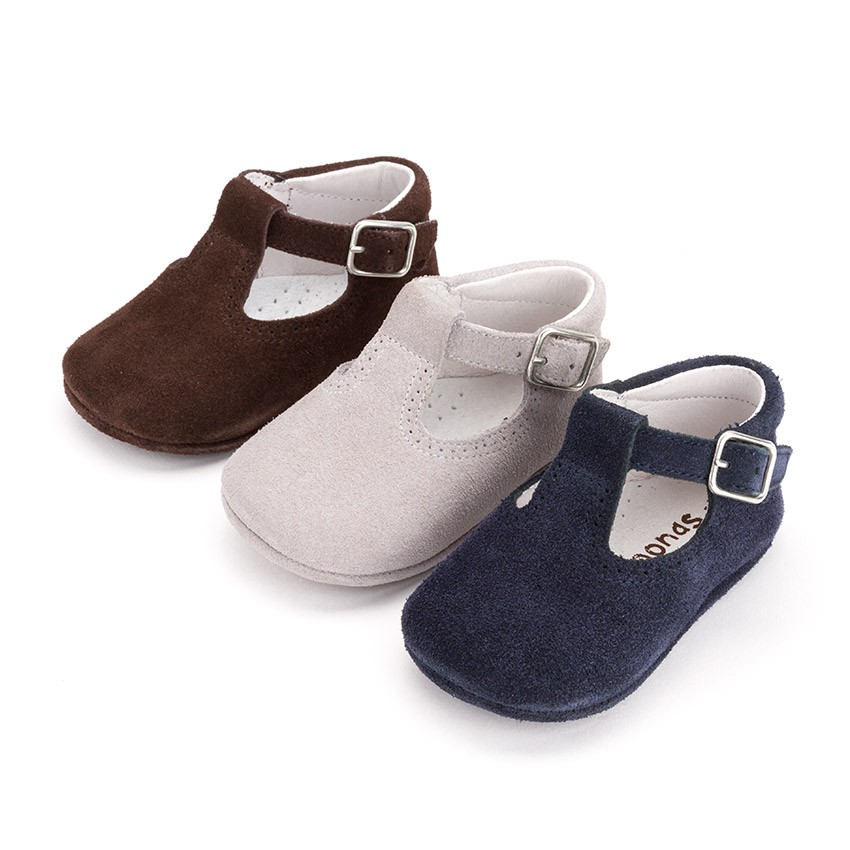 Suede T-Bar Shoes for babies with buckle