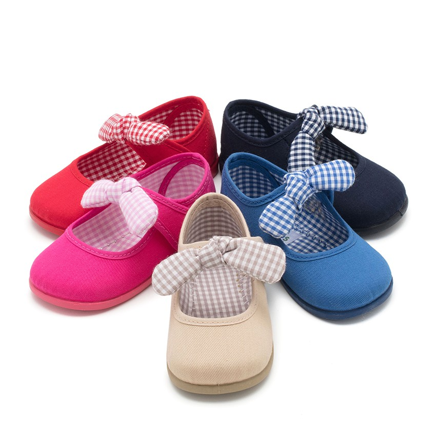 Canvas loop fasteners and Gingham Bow Mary Janes