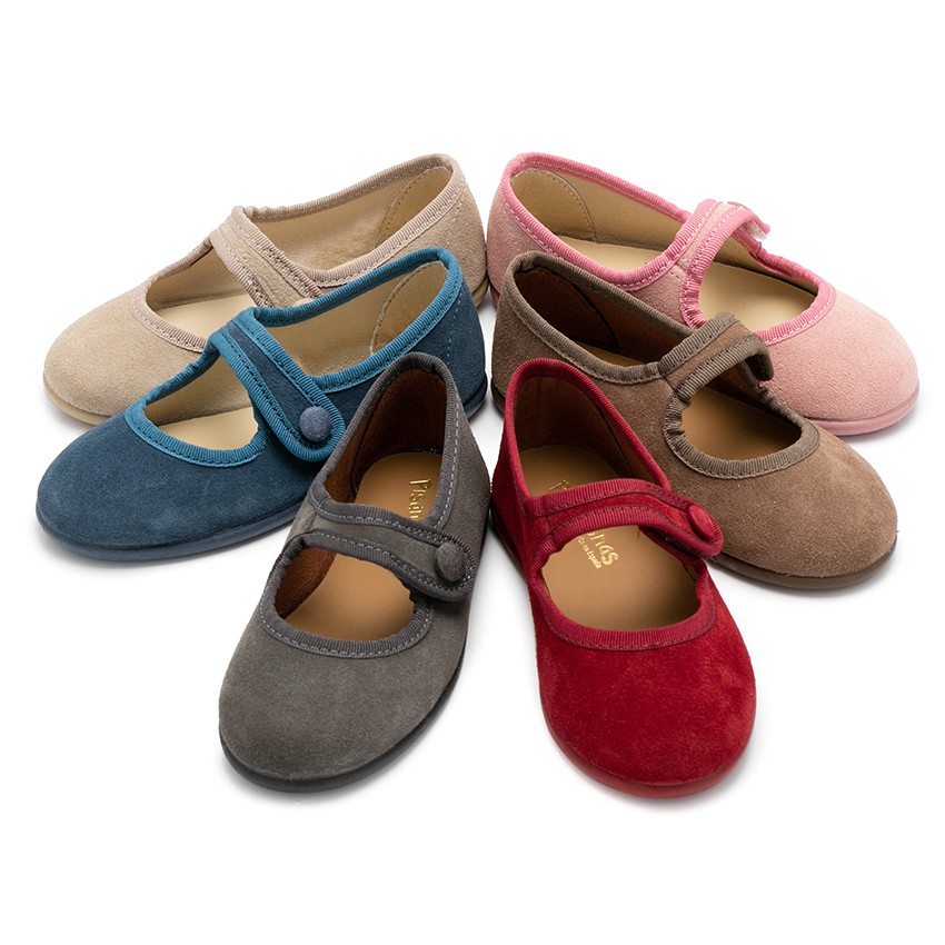 Girls Suede loop fasteners Mary Jane Shoes
