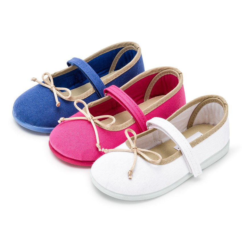 Girls Thin loop fasteners Mary Janes with Ribbon