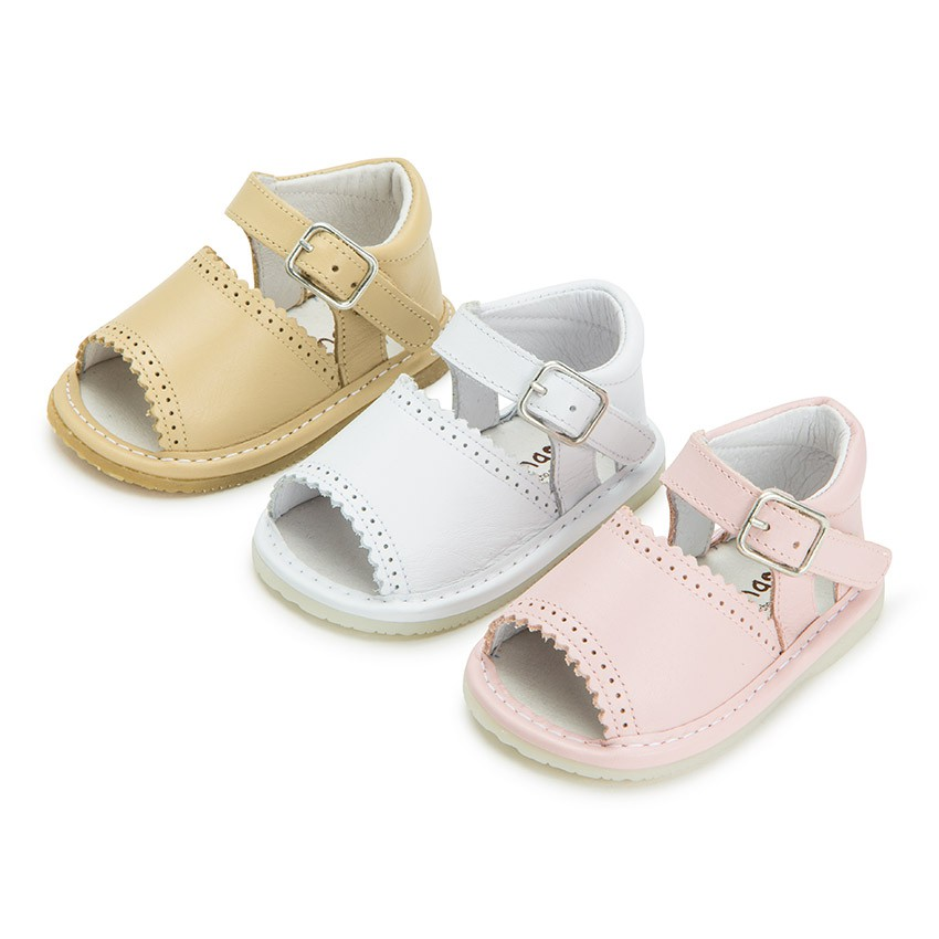 Open-toed Leather Baby Girl Shoes