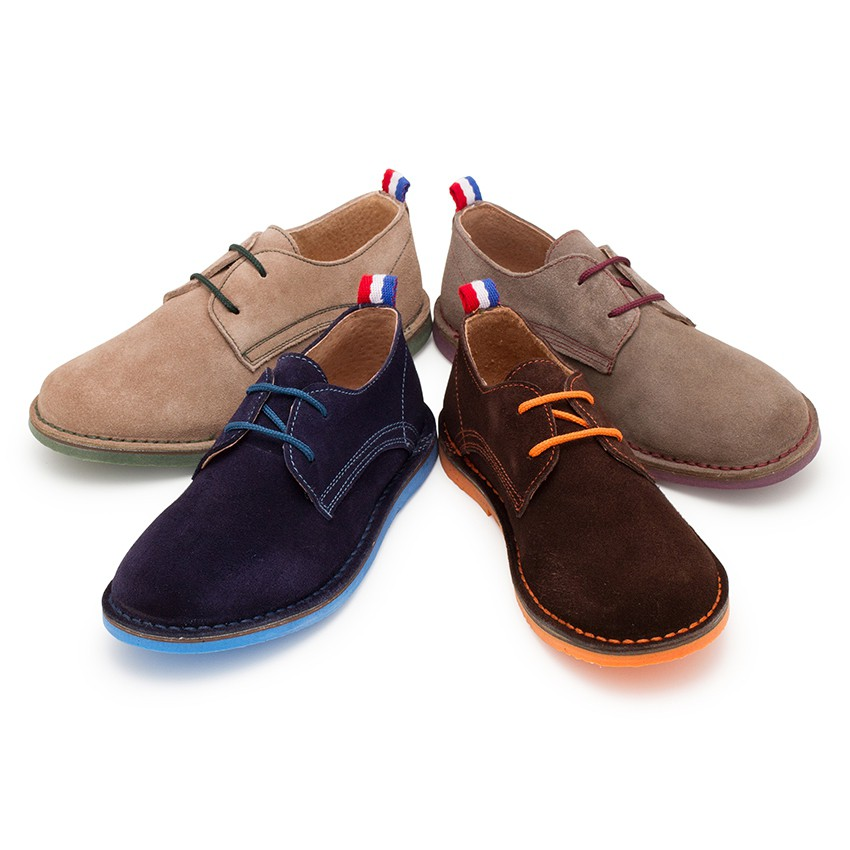 Suede Blucher Shoes with Coloured Outsole and Laces