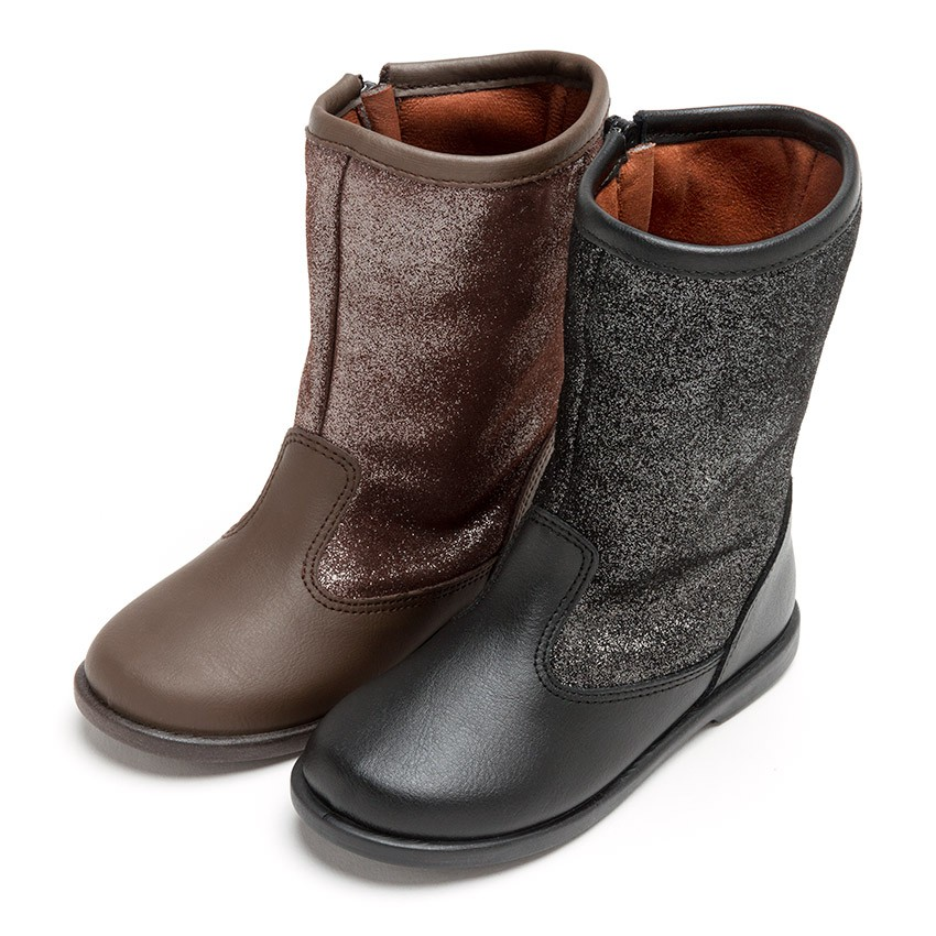 Girls Leather Boots with Glitter