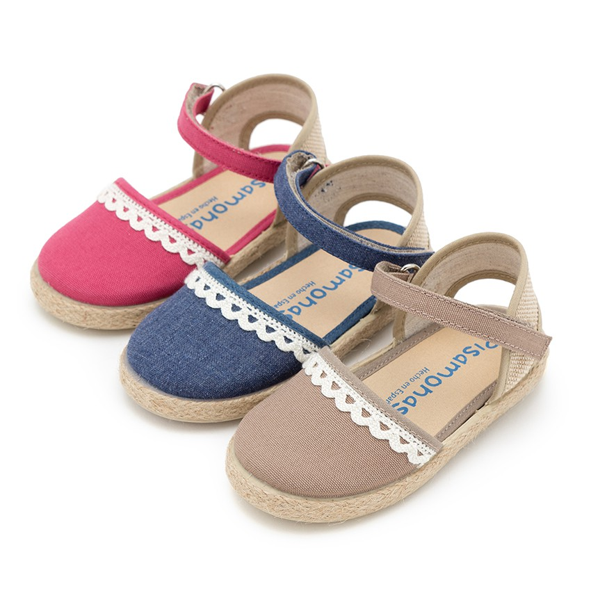 Girls Espadrilles Canvas & Linen Lace