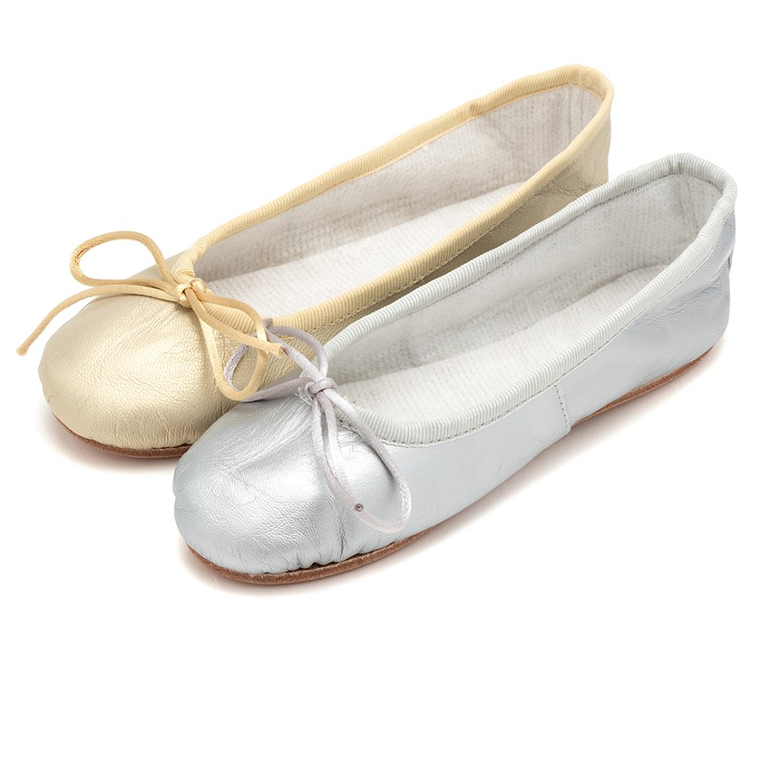 Girls and Womens Metallic Leather Ballerinas