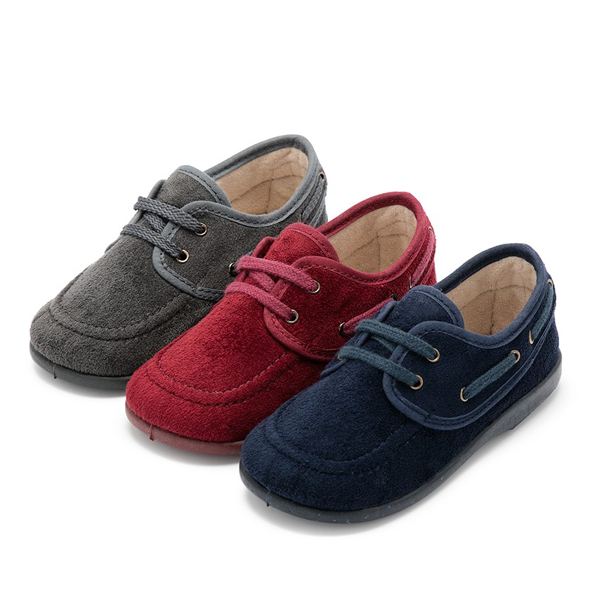 Lace-up faux suede boat shoes