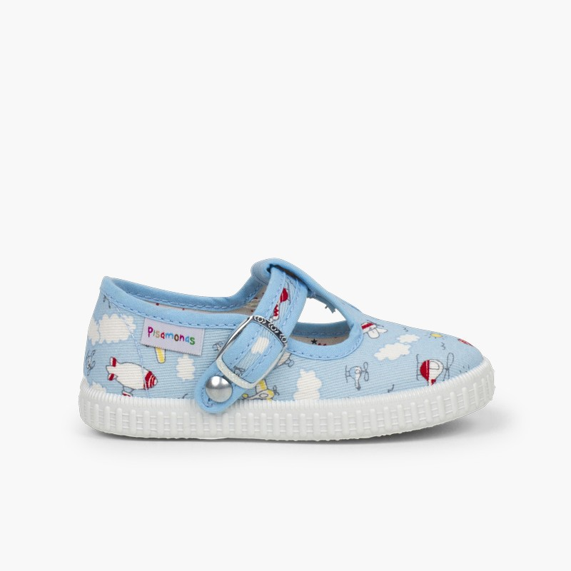 Canvas T-bar Patterned Shoes with Button Closure