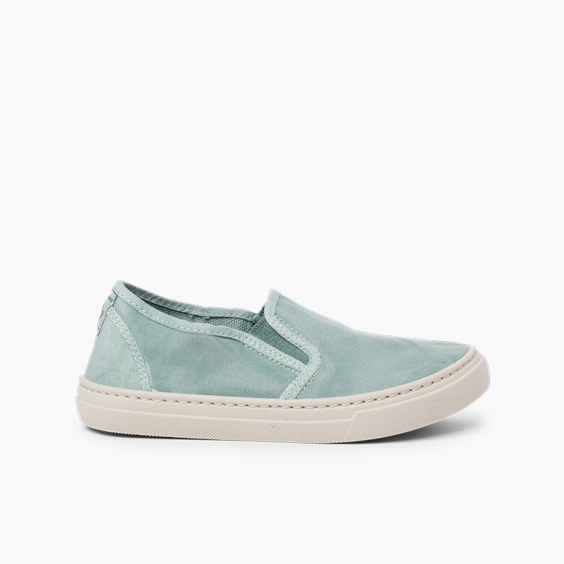 Washed Canvas Side Elastic Trainers