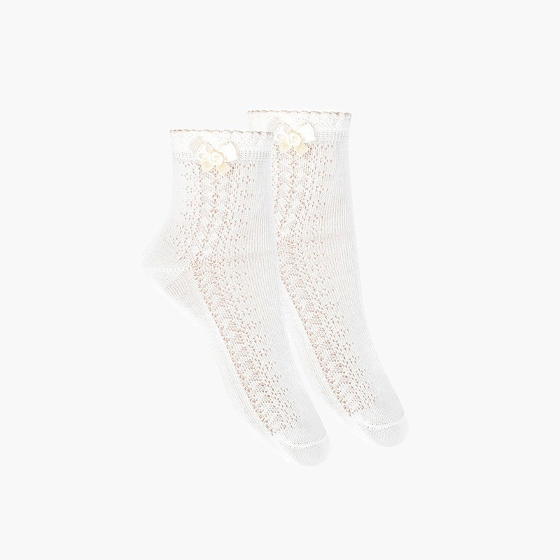 Openwork Dress Socks With Bow