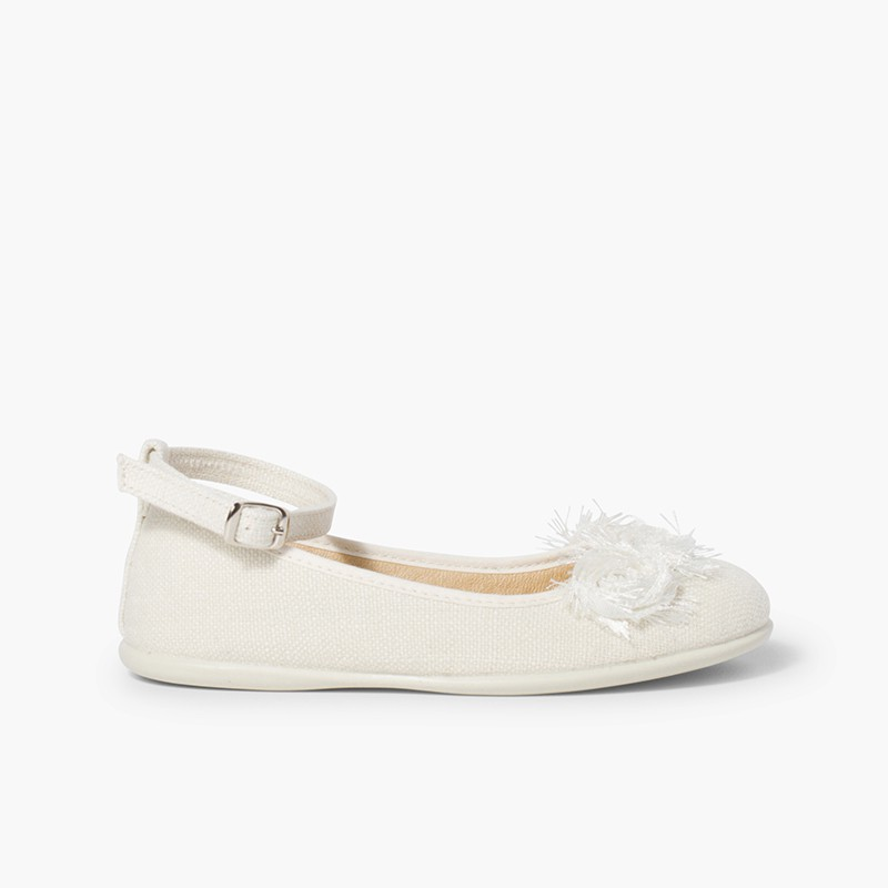 Linen ballet pumps with ankle strap and flower decoration