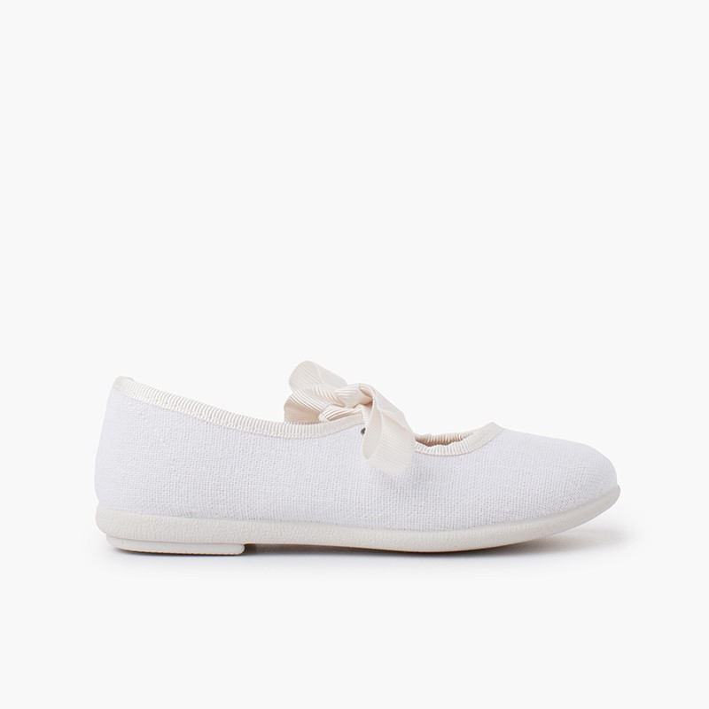 Canvas bow-tie mary janes