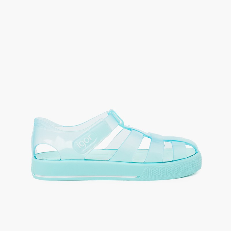Jelly shoes with loop fasteners colored sole