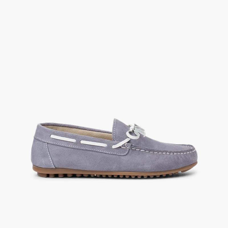 Boys Suede Bow Ceremony Moccasins