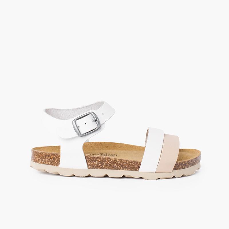 Two-color strappy sandal with ergonomic bio sole