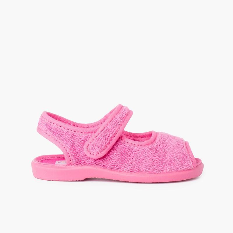 Slipper sandal terry towel adherent strip
