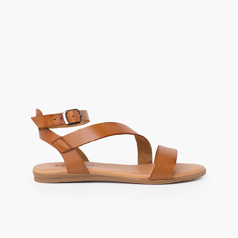 Girl and woman leather sandal cross strap bracelet buckle