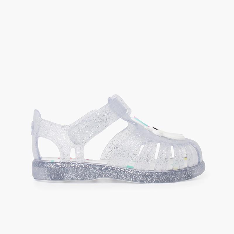 Glitter unicorn sandals adhesive strip