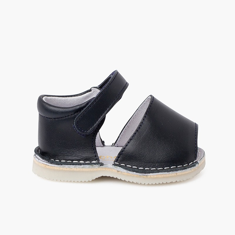Leather menorcan baby sandals adherent strip