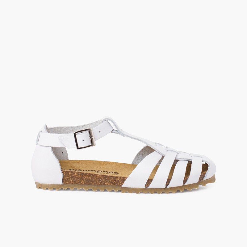 Woman and children leather sandals with bio sole