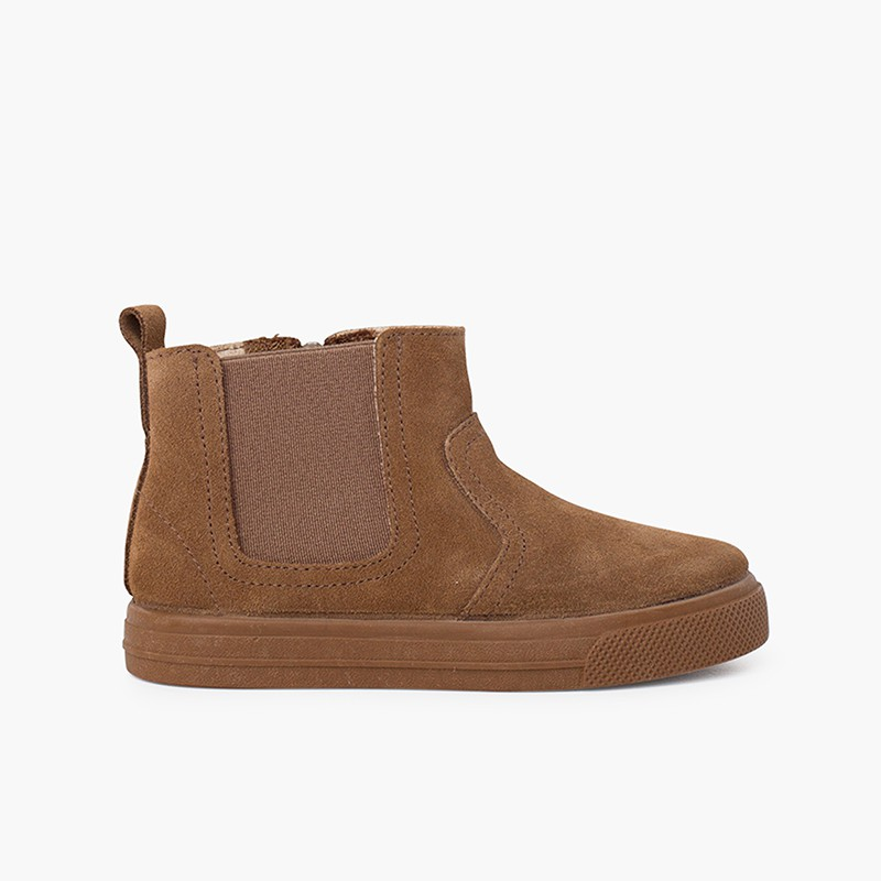 Wide sole boots with zip and elastic for kids