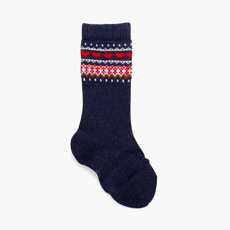 Geometric striped patterns high socks