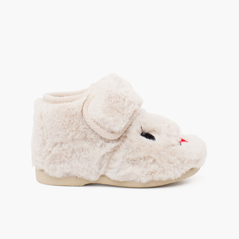 Soft fur bunny slippers