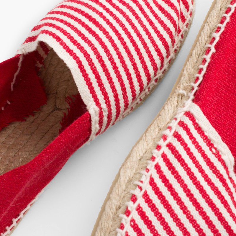 Kids & Adults Striped Two-coloured Espadrilles Red